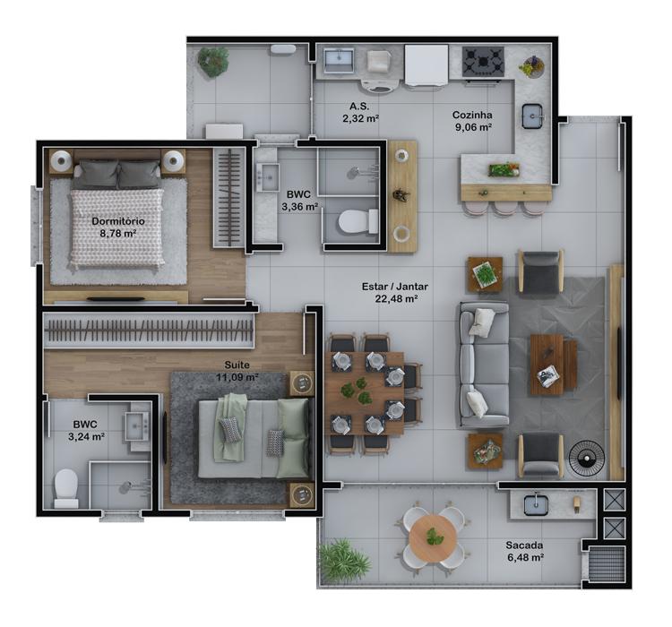 Apartamentos final 1 e 2 (Planta)